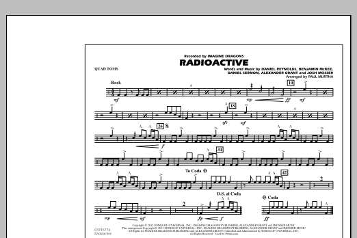 Paul Murtha Radioactive - Quad Toms sheet music notes and chords