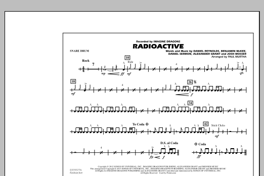 Paul Murtha Radioactive - Snare Drum sheet music notes and chords