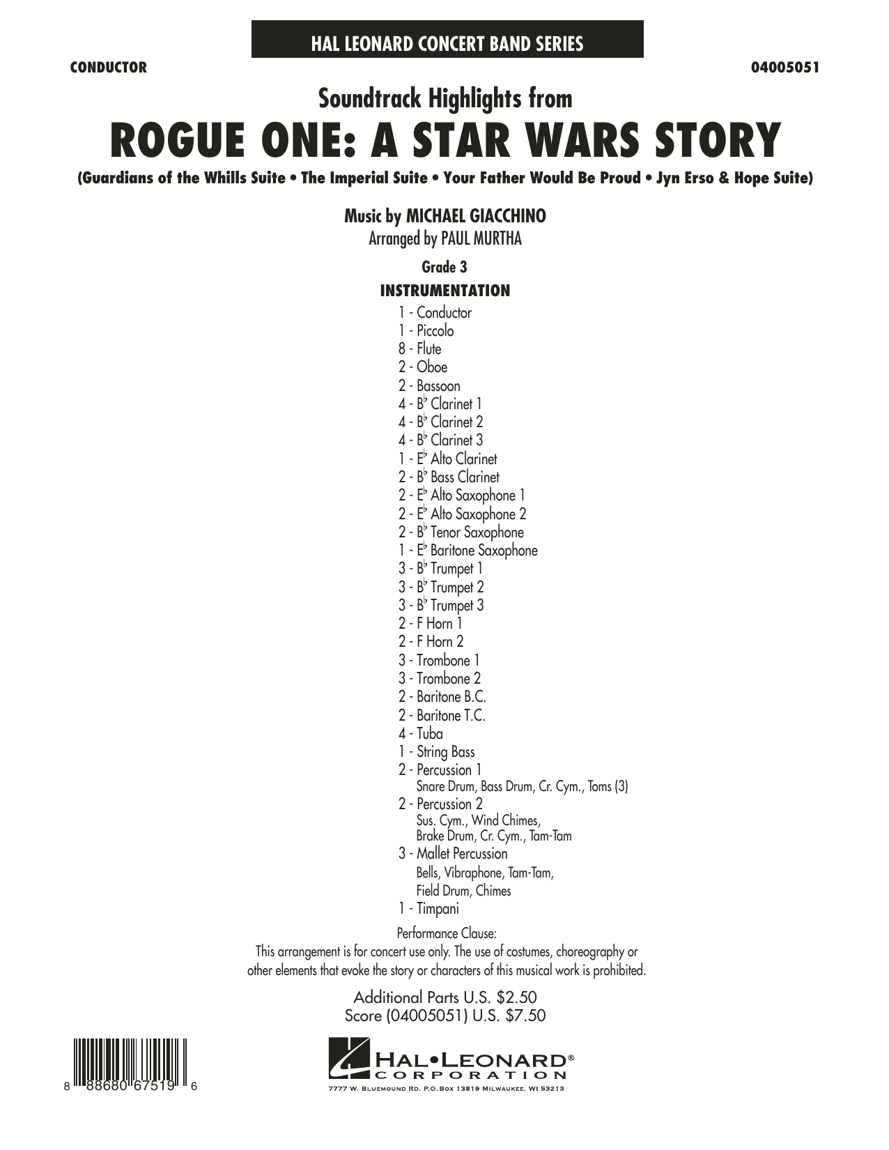Paul Murtha Rogue One: A Star Wars Story - Conductor Score (Full Score) sheet music preview music notes and score for Concert Band including 24 page(s)