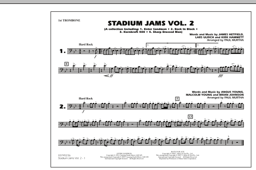 Paul Murtha Stadium Jams - Vol. 2 - 1st Trombone sheet music preview music notes and score for Marching Band including 1 page(s)