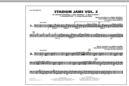 Paul Murtha Stadium Jams - Vol. 2 - 2nd Trombone sheet music preview music notes and score for Marching Band including 1 page(s)