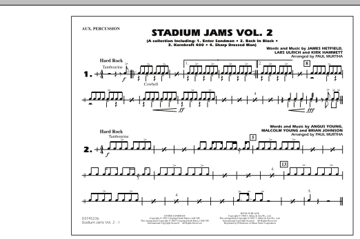 Paul Murtha Stadium Jams - Vol. 2 - Aux Percussion sheet music preview music notes and score for Marching Band including 1 page(s)