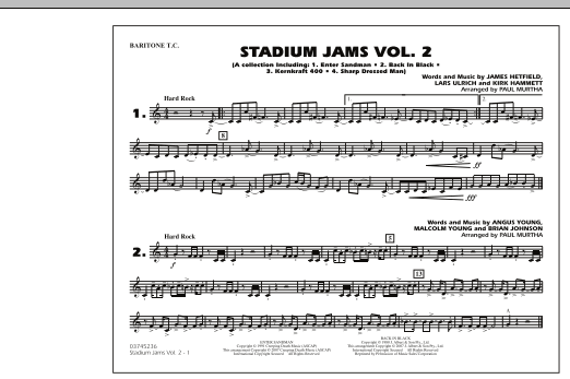 Paul Murtha Stadium Jams - Vol. 2 - Baritone T.C. sheet music preview music notes and score for Marching Band including 1 page(s)