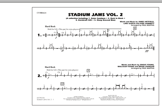 Paul Murtha Stadium Jams - Vol. 2 - Cymbals sheet music preview music notes and score for Marching Band including 1 page(s)