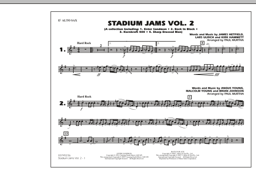 Paul Murtha Stadium Jams - Vol. 2 - Eb Alto Sax sheet music preview music notes and score for Marching Band including 1 page(s)