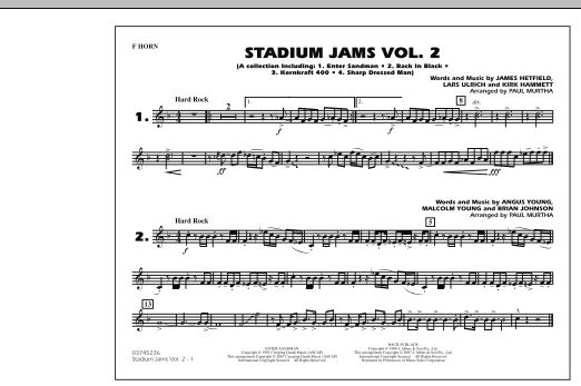 Paul Murtha Stadium Jams - Vol. 2 - F Horn sheet music preview music notes and score for Marching Band including 1 page(s)