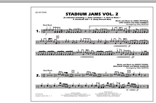 Paul Murtha Stadium Jams - Vol. 2 - Quad Toms sheet music preview music notes and score for Marching Band including 1 page(s)