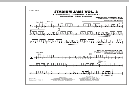 Paul Murtha Stadium Jams - Vol. 2 - Snare Drum sheet music preview music notes and score for Marching Band including 1 page(s)