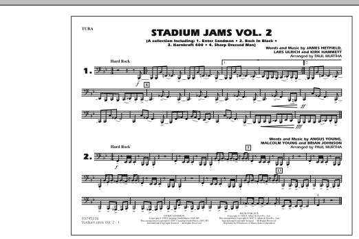 Paul Murtha Stadium Jams - Vol. 2 - Tuba sheet music preview music notes and score for Marching Band including 1 page(s)