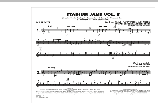 Paul Murtha Stadium Jams - Volume 3 - 1st Bb Trumpet sheet music preview music notes and score for Marching Band including 1 page(s)