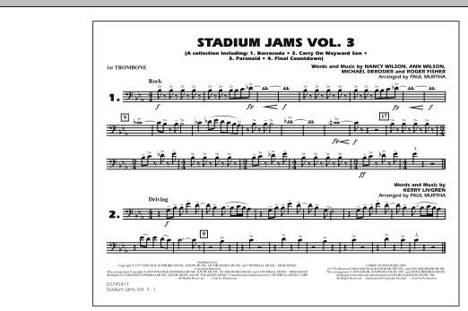 Paul Murtha Stadium Jams - Volume 3 - 1st Trombone sheet music preview music notes and score for Marching Band including 1 page(s)