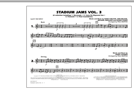 Paul Murtha Stadium Jams - Volume 3 - 2nd Bb Trumpet sheet music preview music notes and score for Marching Band including 1 page(s)