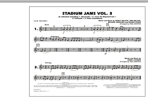 Paul Murtha Stadium Jams - Volume 3 - 3rd Bb Trumpet sheet music preview music notes and score for Marching Band including 1 page(s)