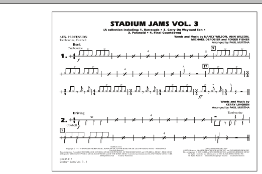 Paul Murtha Stadium Jams - Volume 3 - Aux Percussion sheet music preview music notes and score for Marching Band including 1 page(s)