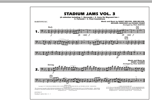 Paul Murtha Stadium Jams - Volume 3 - Baritone B.C. sheet music preview music notes and score for Marching Band including 1 page(s)