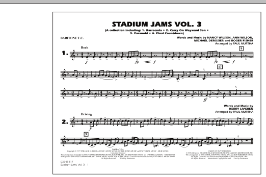 Paul Murtha Stadium Jams - Volume 3 - Baritone T.C. sheet music preview music notes and score for Marching Band including 1 page(s)