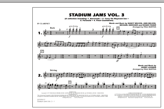 Paul Murtha Stadium Jams - Volume 3 - Bb Clarinet sheet music preview music notes and score for Marching Band including 1 page(s)