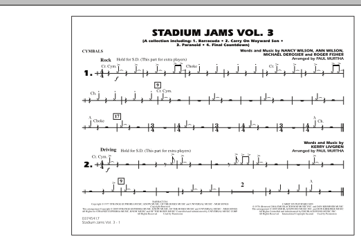 Paul Murtha Stadium Jams - Volume 3 - Cymbals sheet music preview music notes and score for Marching Band including 1 page(s)
