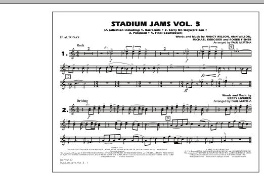 Paul Murtha Stadium Jams - Volume 3 - Eb Alto Sax sheet music preview music notes and score for Marching Band including 1 page(s)