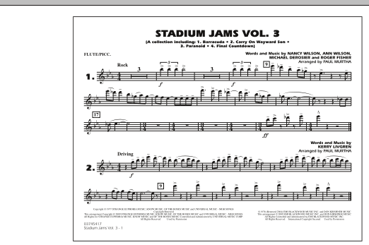 Paul Murtha Stadium Jams - Volume 3 - Flute/Piccolo sheet music preview music notes and score for Marching Band including 1 page(s)