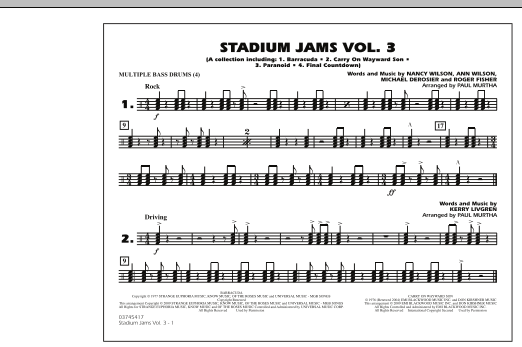 Paul Murtha Stadium Jams - Volume 3 - Multiple Bass Drums sheet music preview music notes and score for Marching Band including 1 page(s)