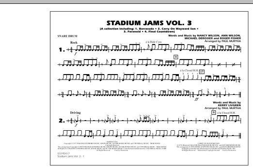 Paul Murtha Stadium Jams - Volume 3 - Snare Drum sheet music preview music notes and score for Marching Band including 1 page(s)