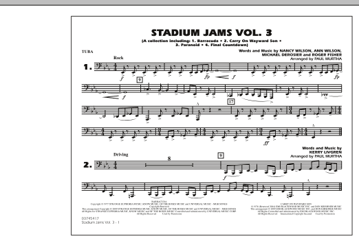 Paul Murtha Stadium Jams - Volume 3 - Tuba sheet music preview music notes and score for Marching Band including 1 page(s)