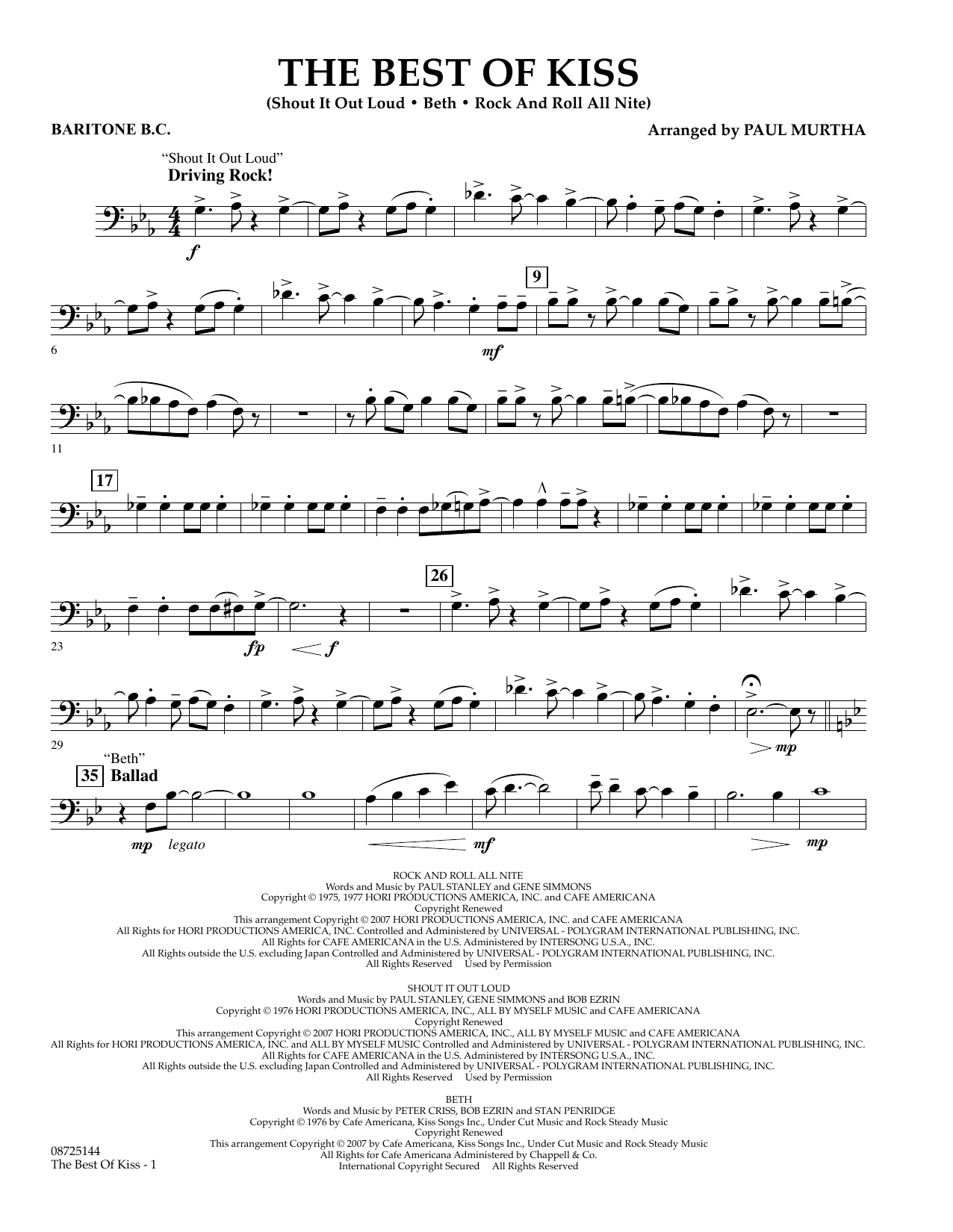 Paul Murtha The Best of Kiss - Baritone B.C. sheet music preview music notes and score for Concert Band including 2 page(s)