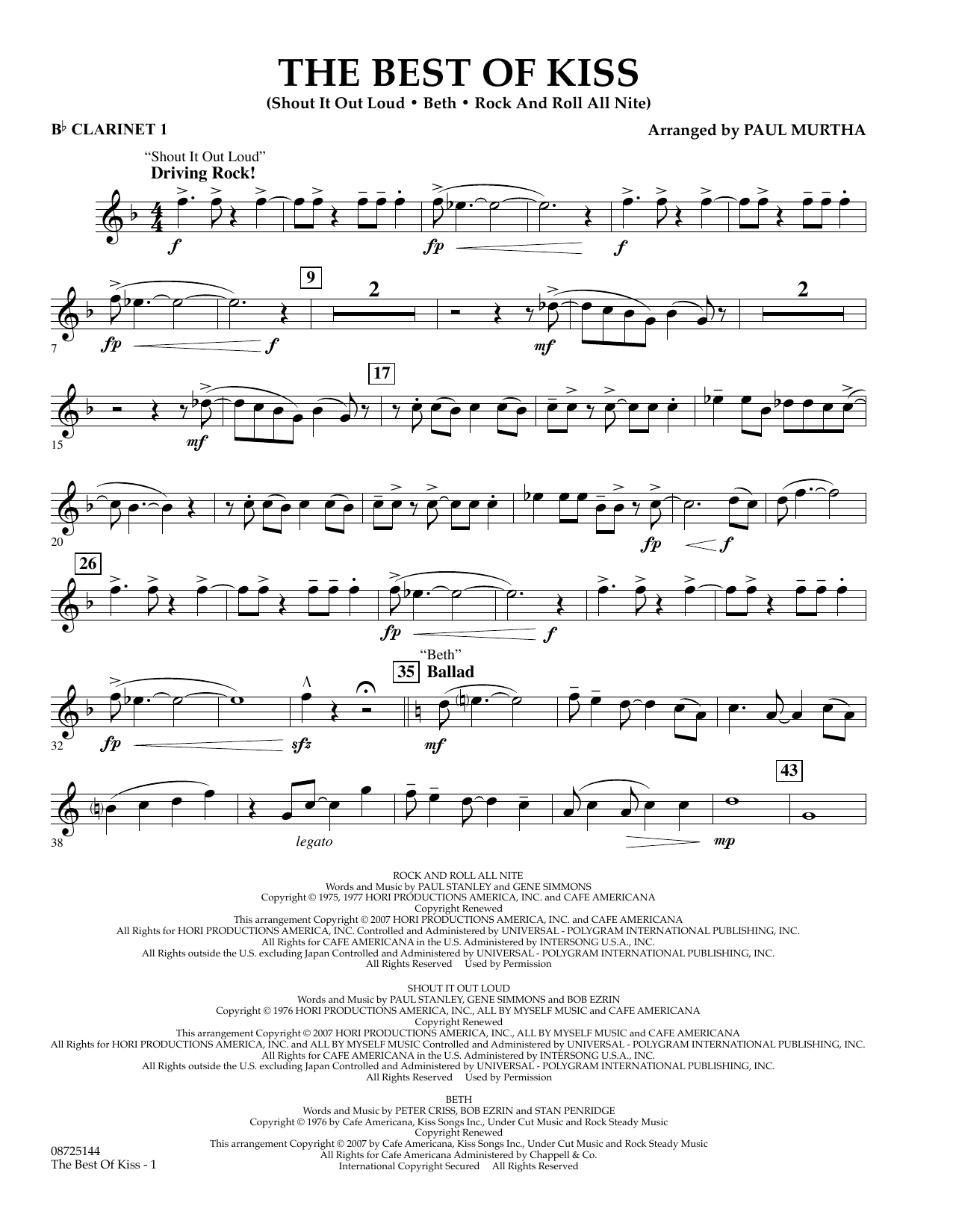 Paul Murtha The Best of Kiss - Bb Clarinet 1 sheet music preview music notes and score for Concert Band including 2 page(s)
