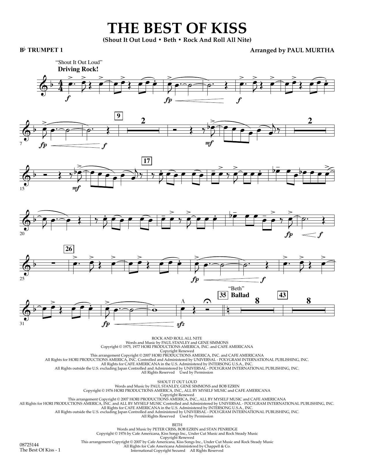 Paul Murtha The Best of Kiss - Bb Trumpet 1 sheet music preview music notes and score for Concert Band including 2 page(s)