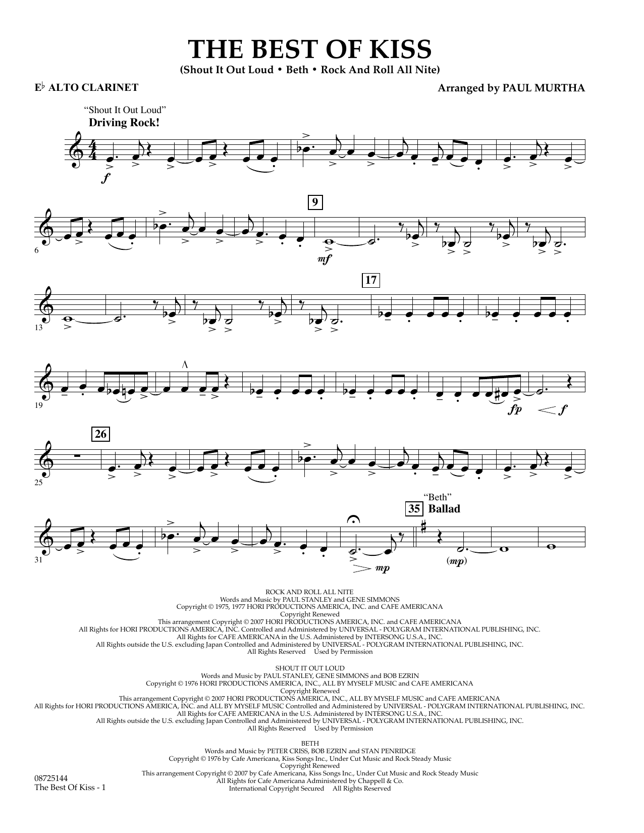 Paul Murtha The Best of Kiss - Eb Alto Clarinet sheet music preview music notes and score for Concert Band including 2 page(s)