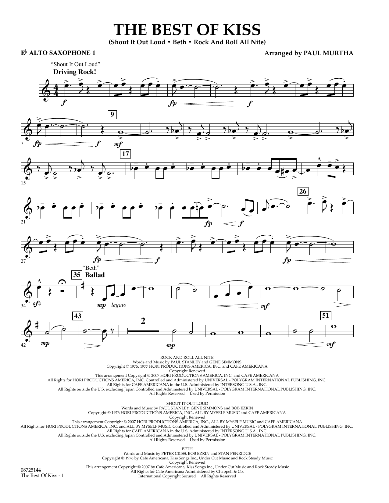 Paul Murtha The Best of Kiss - Eb Alto Saxophone 1 sheet music preview music notes and score for Concert Band including 2 page(s)