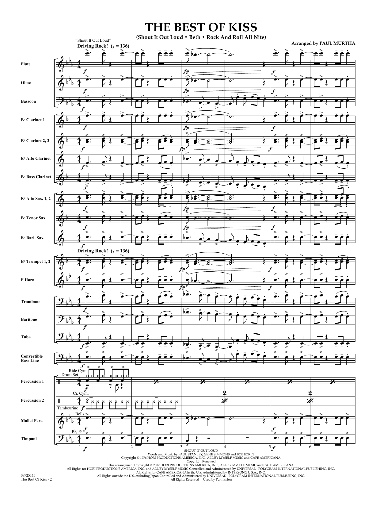 Paul Murtha The Best of Kiss - Full Score sheet music preview music notes and score for Concert Band including 19 page(s)