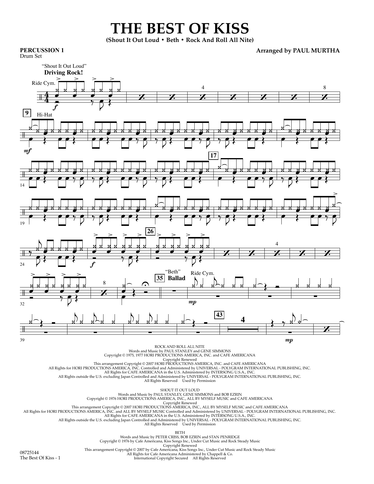 Paul Murtha The Best of Kiss - Percussion 1 sheet music preview music notes and score for Concert Band including 2 page(s)