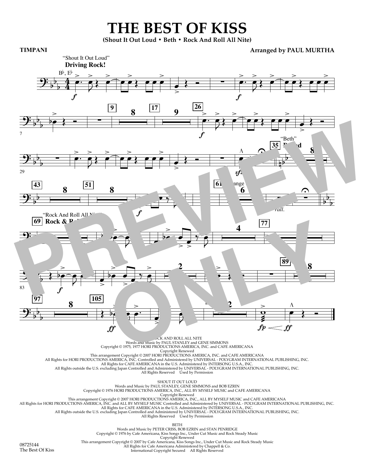 Paul Murtha The Best of Kiss - Timpani sheet music preview music notes and score for Concert Band including 1 page(s)