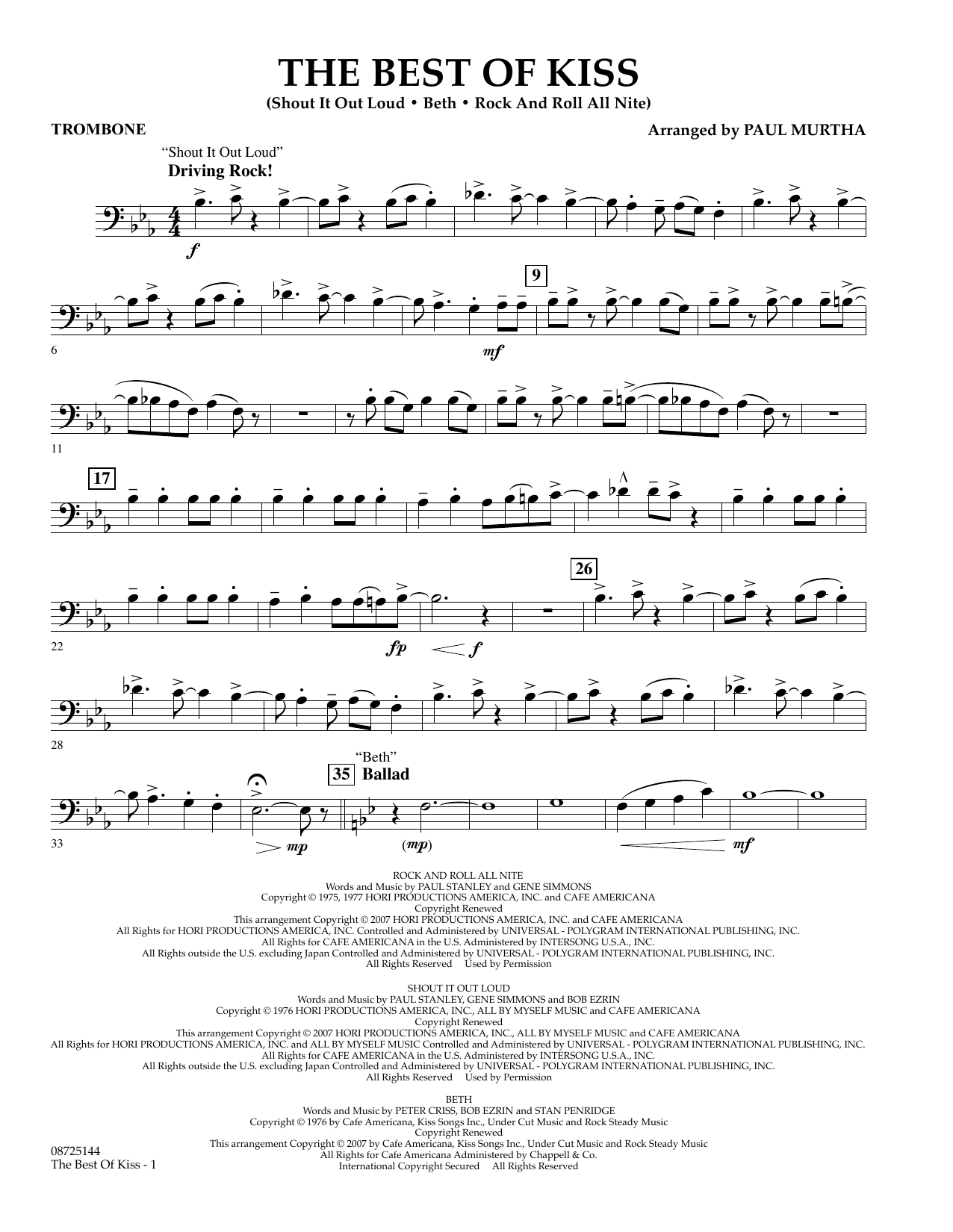 Paul Murtha The Best of Kiss - Trombone sheet music preview music notes and score for Concert Band including 2 page(s)