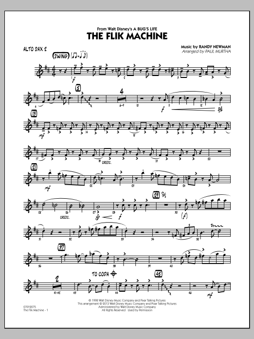 Paul Murtha The Flik Machine (from A Bug's Life) - Alto Sax 2 sheet music notes and chords