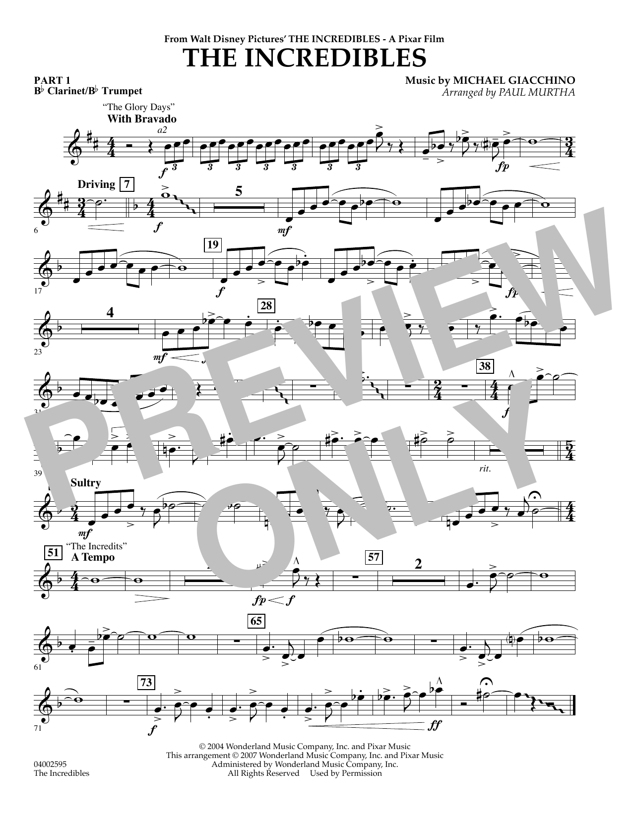 Paul Murtha The Incredibles - Pt.1 - Bb Clarinet/Bb Trumpet sheet music preview music notes and score for Concert Band including 1 page(s)