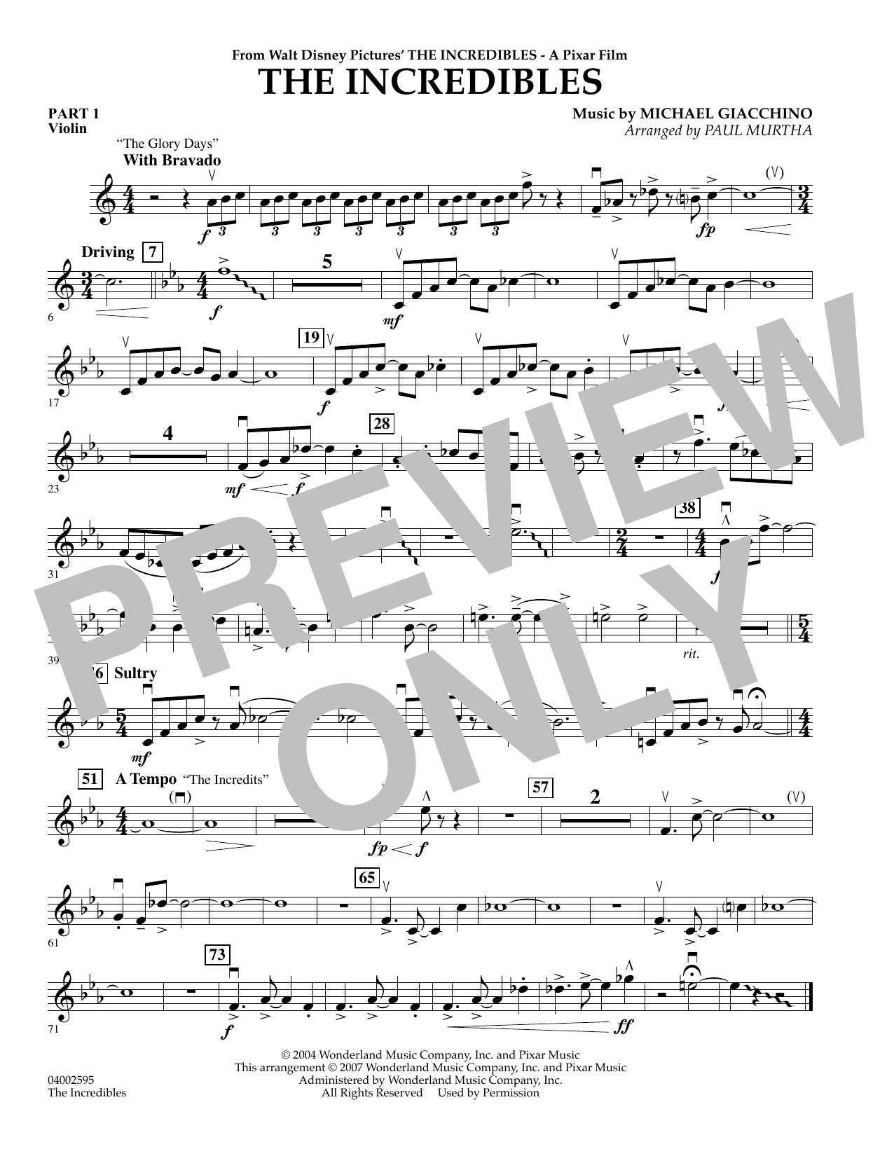 Paul Murtha The Incredibles - Pt.1 - Violin sheet music preview music notes and score for Concert Band including 1 page(s)