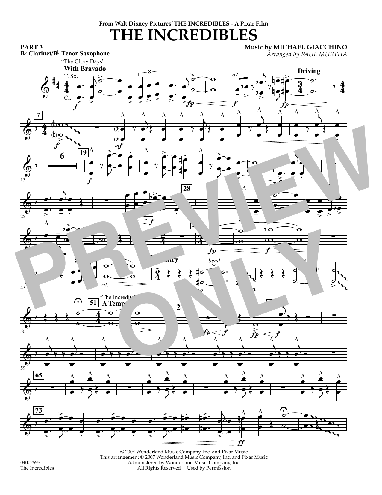 Paul Murtha The Incredibles - Pt.3 - Bb Clarinet/Tenor Sax sheet music preview music notes and score for Concert Band including 1 page(s)