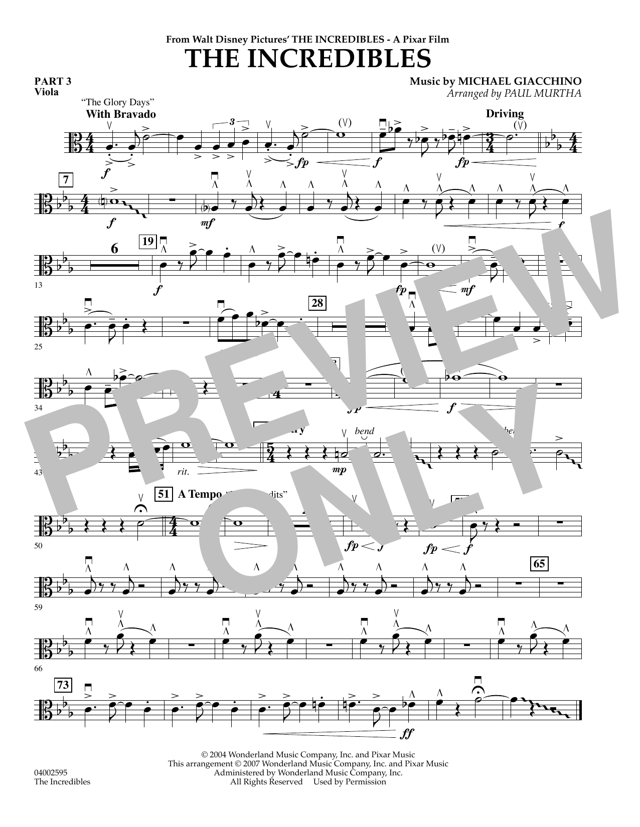 Paul Murtha The Incredibles - Pt.3 - Viola sheet music preview music notes and score for Concert Band including 1 page(s)