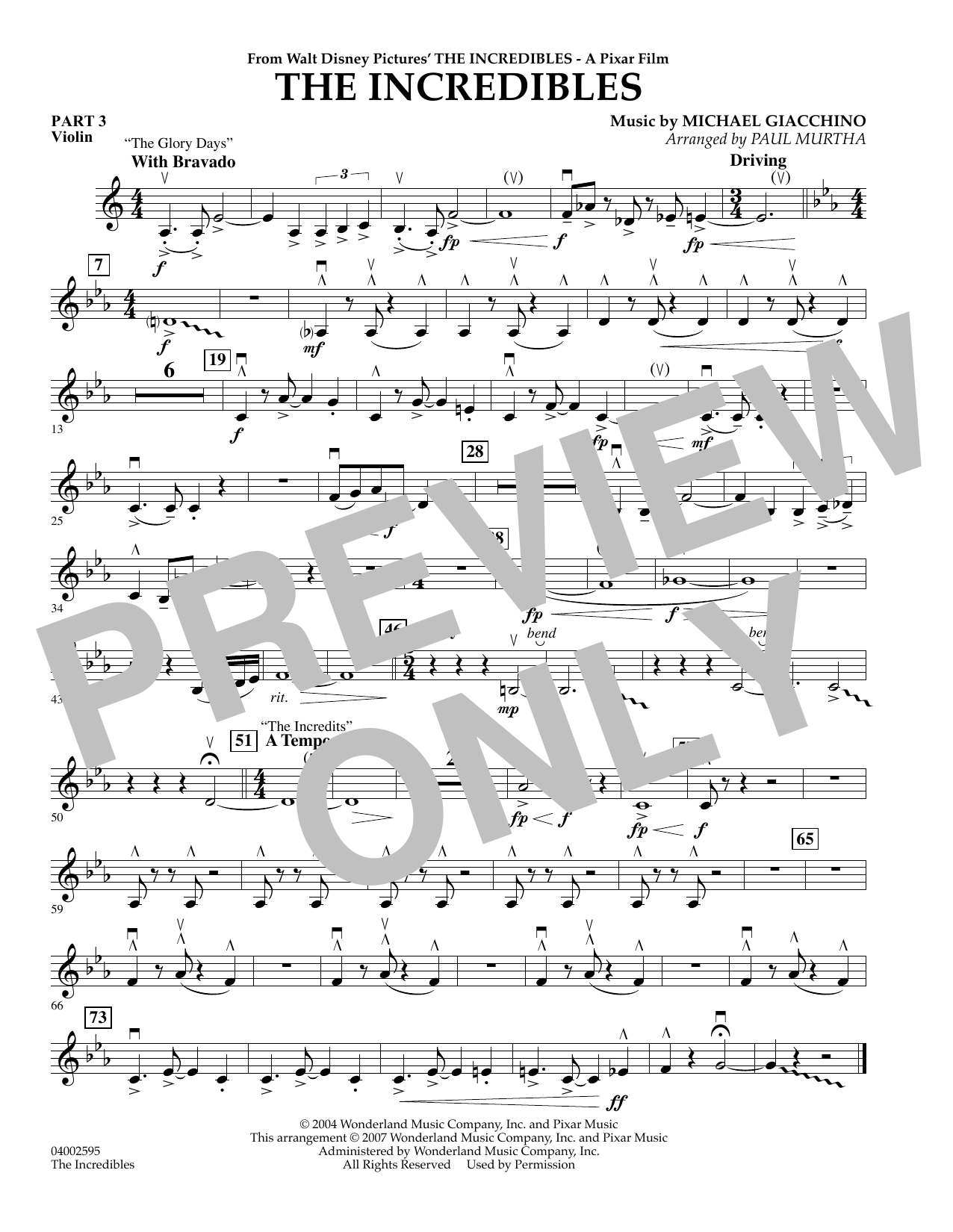 Paul Murtha The Incredibles - Pt.3 - Violin sheet music preview music notes and score for Concert Band including 1 page(s)