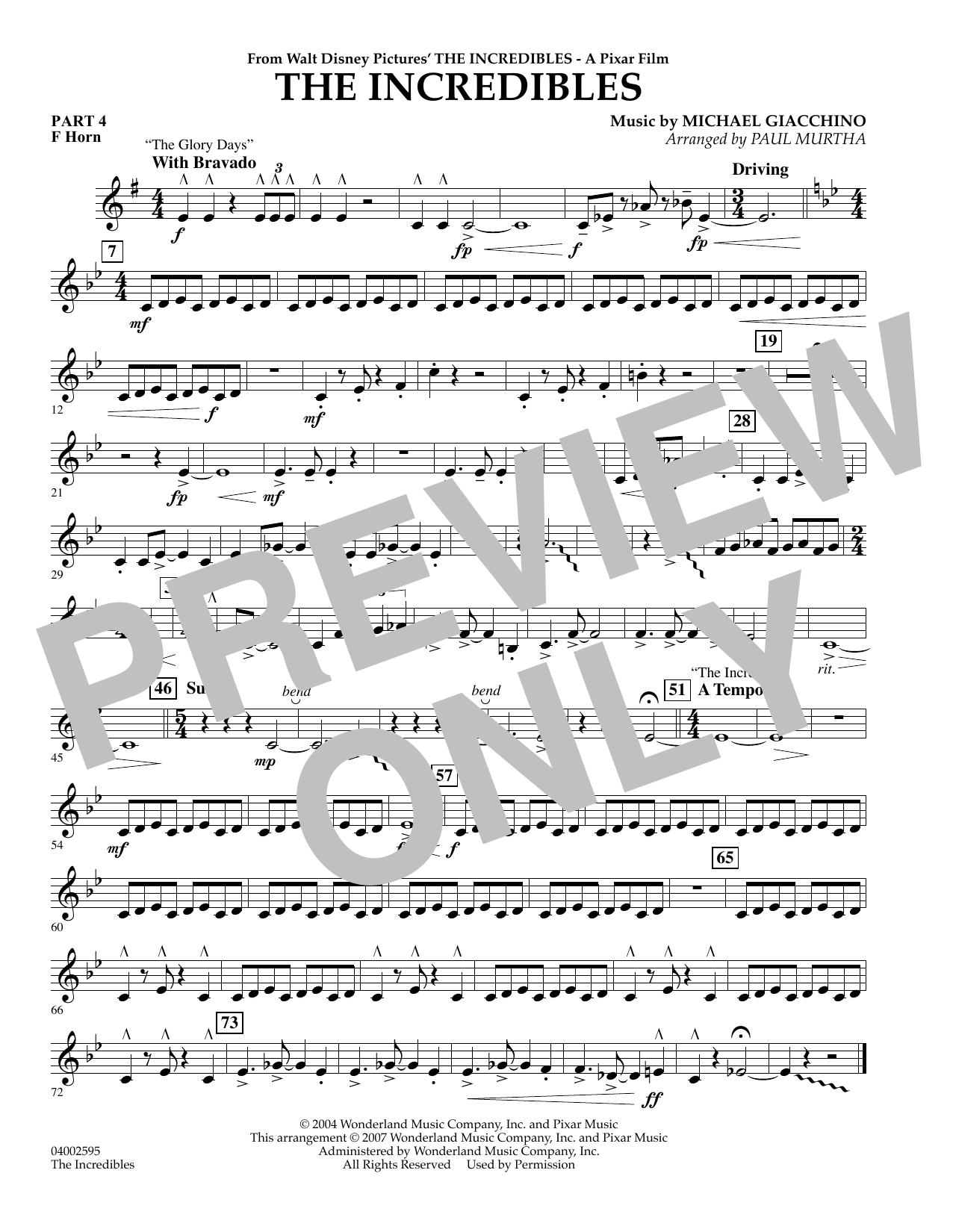 Paul Murtha The Incredibles - Pt.4 - F Horn sheet music preview music notes and score for Concert Band including 1 page(s)