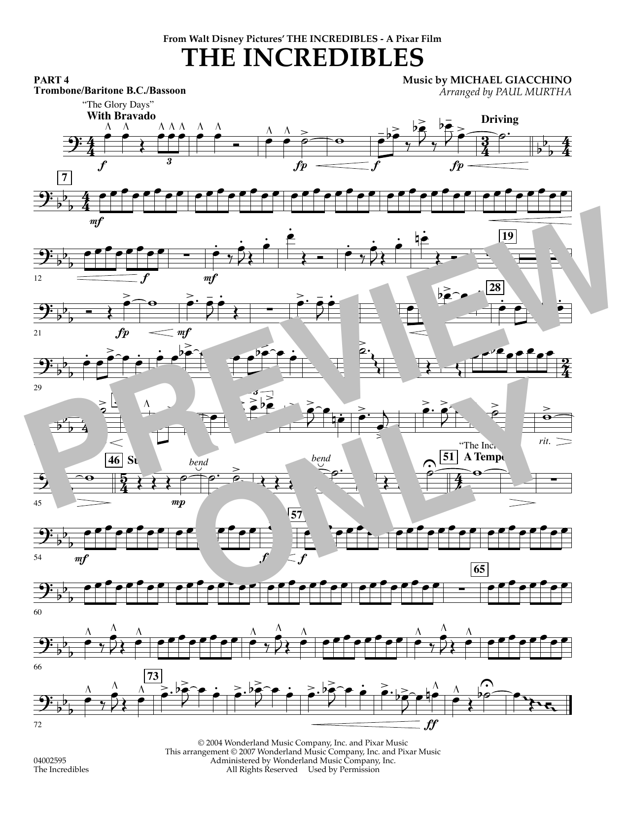 Paul Murtha The Incredibles - Pt.4 - Trombone/Bar. B.C./Bsn. sheet music preview music notes and score for Concert Band including 1 page(s)