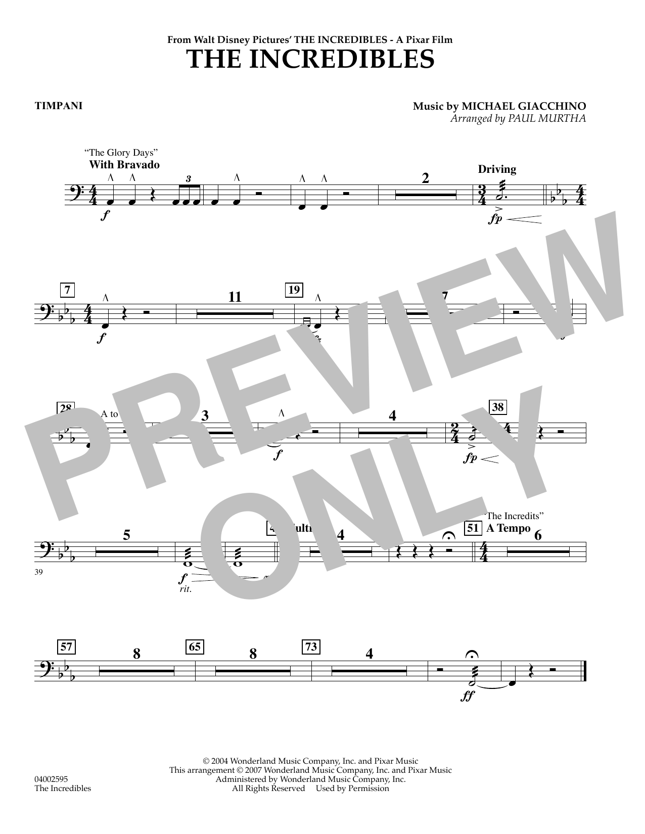 Paul Murtha The Incredibles - Timpani sheet music preview music notes and score for Concert Band including 1 page(s)