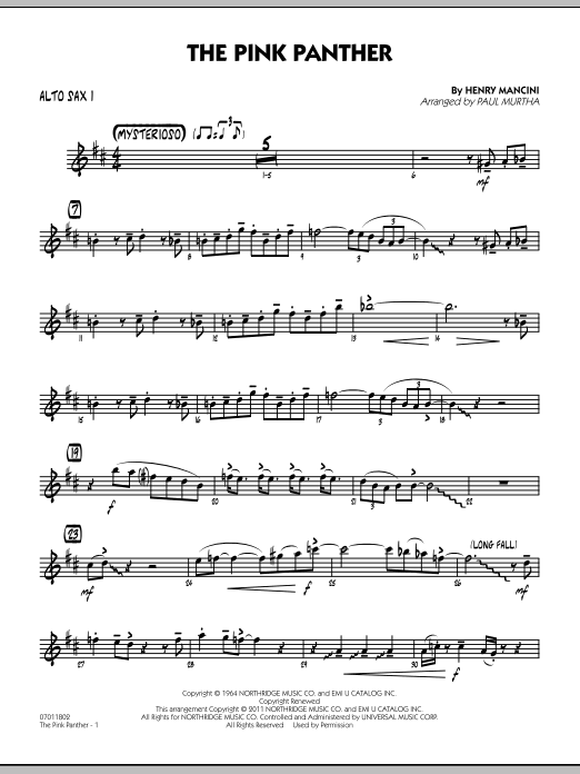 Paul Murtha The Pink Panther - Alto Sax 1 sheet music preview music notes and score for Jazz Ensemble including 2 page(s)