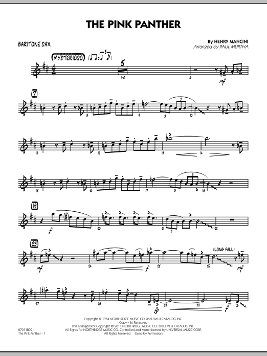 Paul Murtha The Pink Panther - Baritone Sax sheet music preview music notes and score for Jazz Ensemble including 2 page(s)