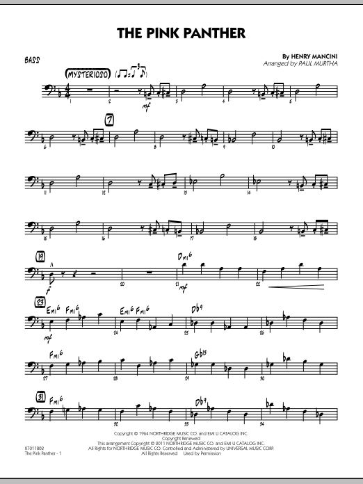 Paul Murtha The Pink Panther - Bass sheet music preview music notes and score for Jazz Ensemble including 2 page(s)