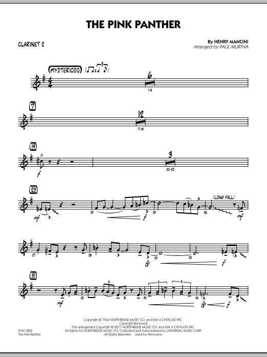 Paul Murtha The Pink Panther - Bb Clarinet 2 sheet music preview music notes and score for Jazz Ensemble including 2 page(s)