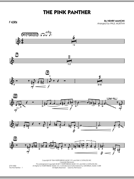 Paul Murtha The Pink Panther - F Horn sheet music preview music notes and score for Jazz Ensemble including 2 page(s)